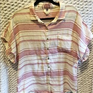 Quicksilver Pink and White Stripe Top